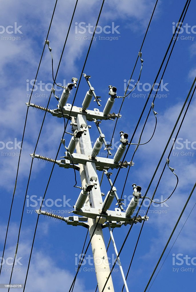 Electrical transmission tower on sky royalty-free stock photo
