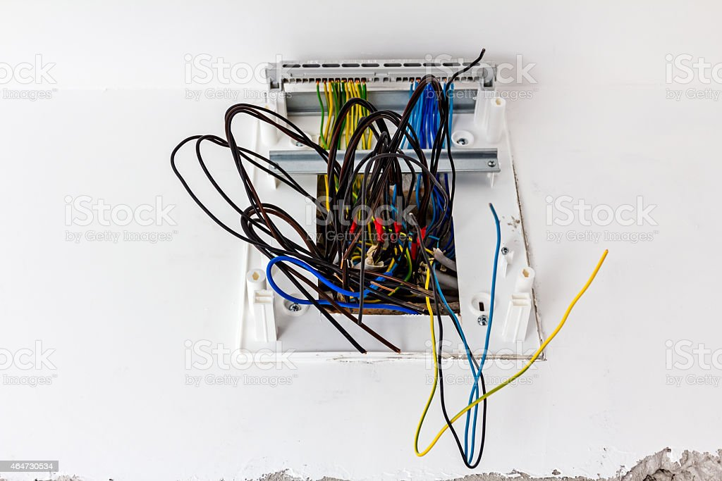 Electrical wall sockets stock photo