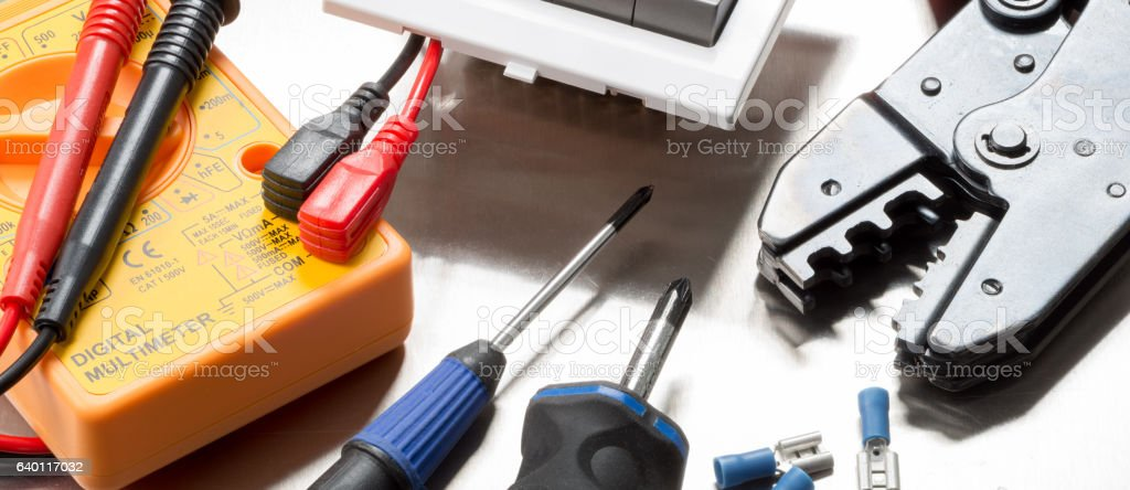 Electrical web banner stock photo