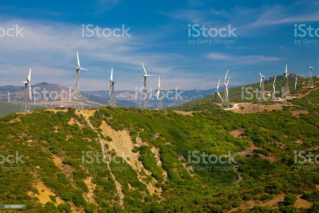 Electrical windmills system (power production) stock photo