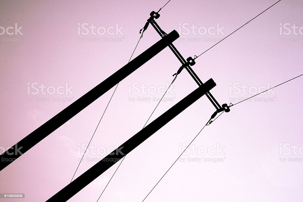 Electrical wires silhouette stock photo