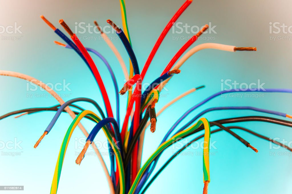 Electrical wires, still-life. stock photo