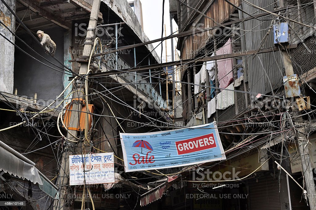 Electrical Wiring Chaos in India royalty-free stock photo