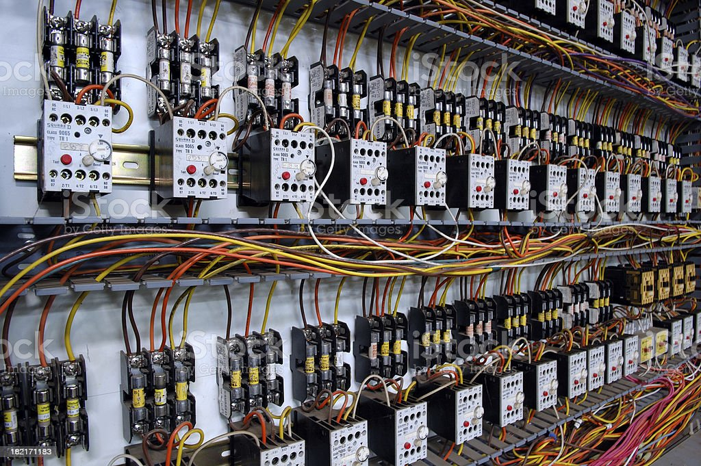 Electrical Wiring Panel stock photo