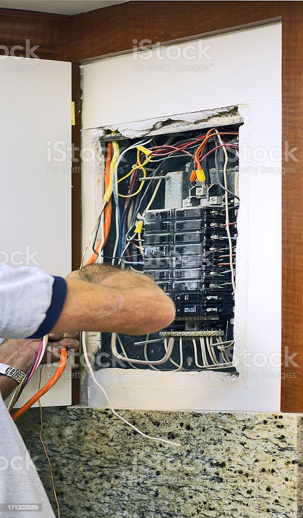 Electrical wiring stock photo