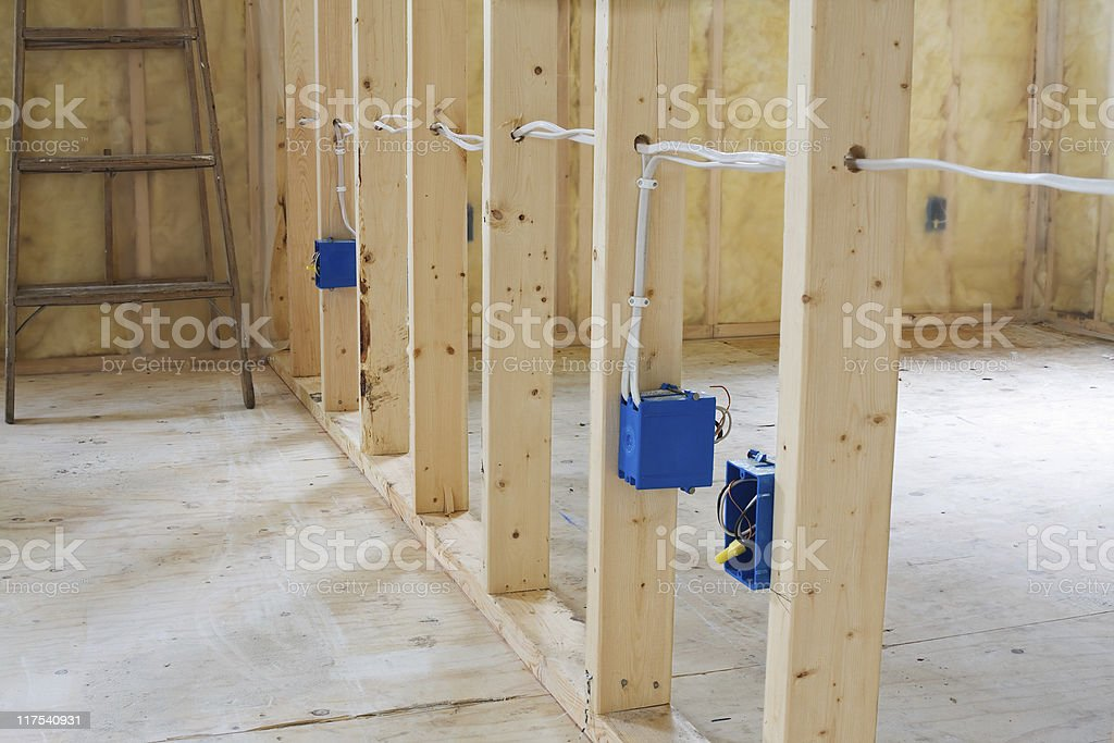 Electrical Wiring Through Studs royalty-free stock photo