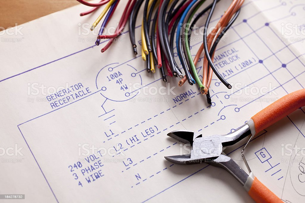 Electrical Wiring with wire cutters and blueprints stock photo