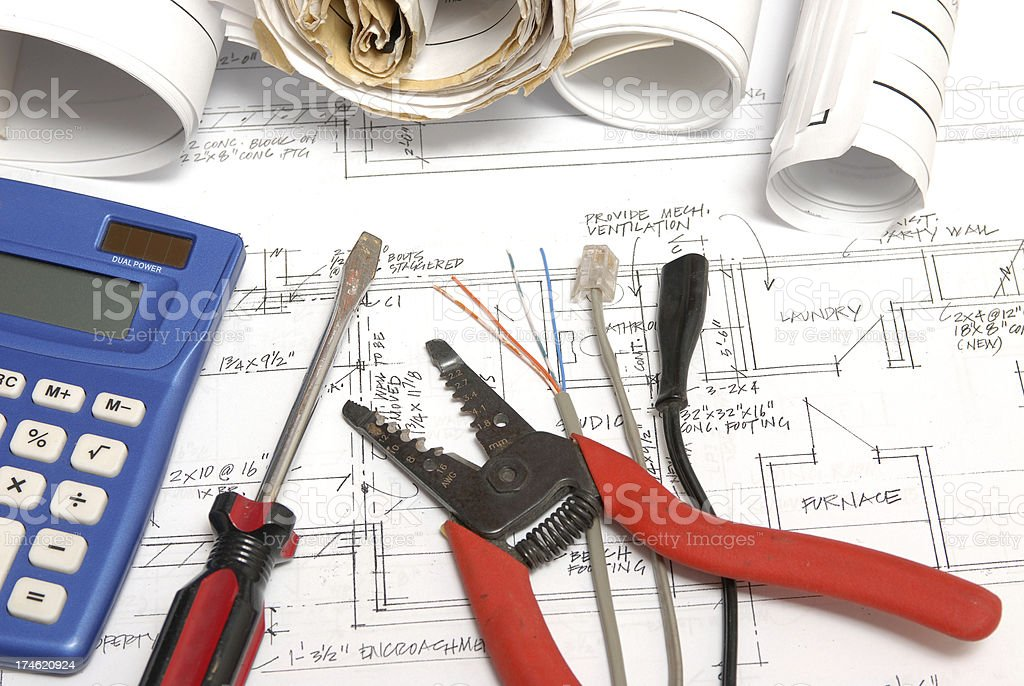 electrical work stock photo