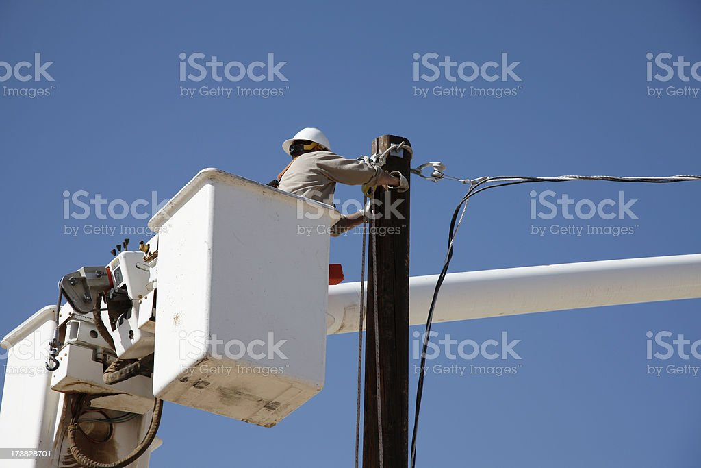 Electrical Worker and Bucket royalty-free stock photo