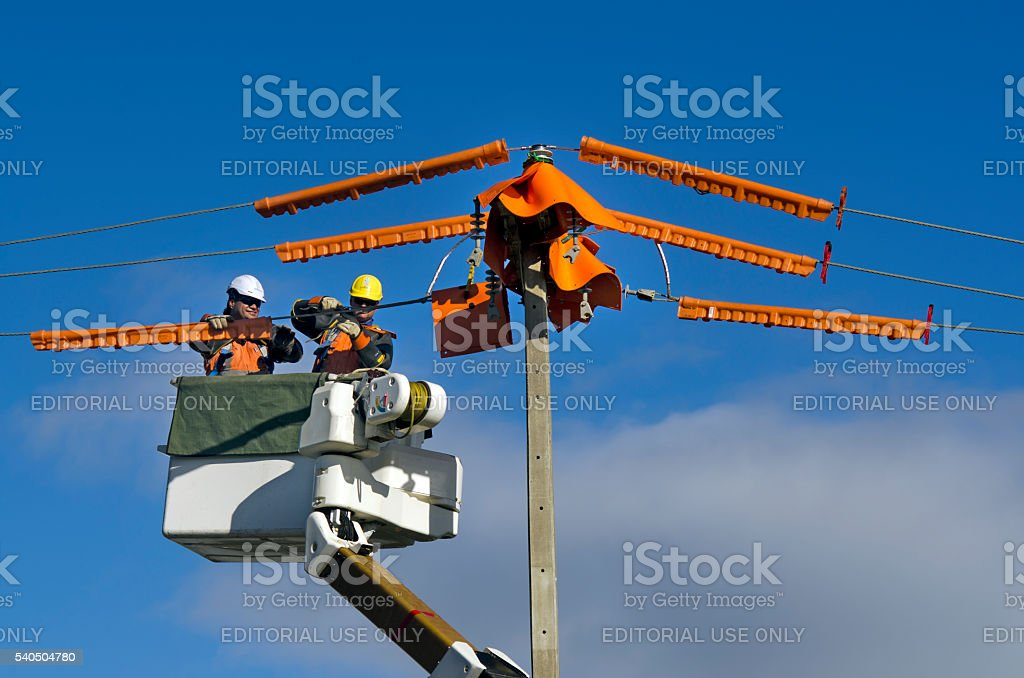 Electrical Workers Repairing Power Pole stock photo