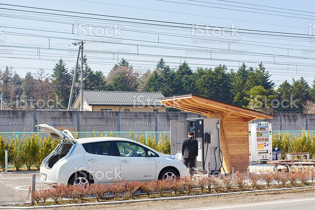 electrically charge a electric car in Karuizawa stock photo