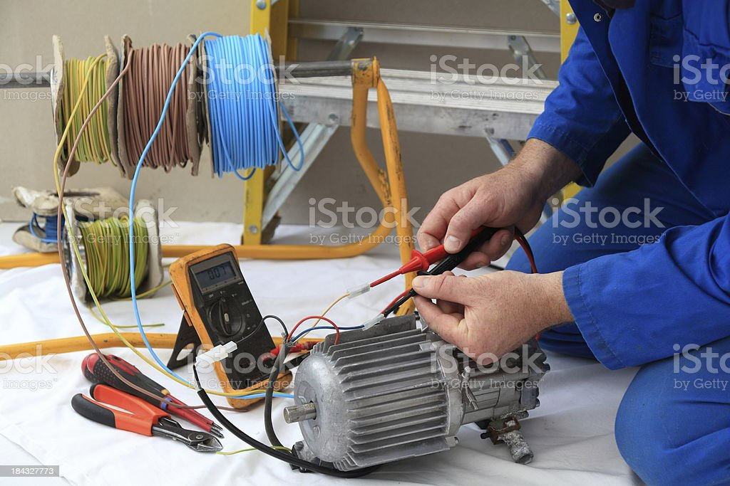 Electrician at work. royalty-free stock photo