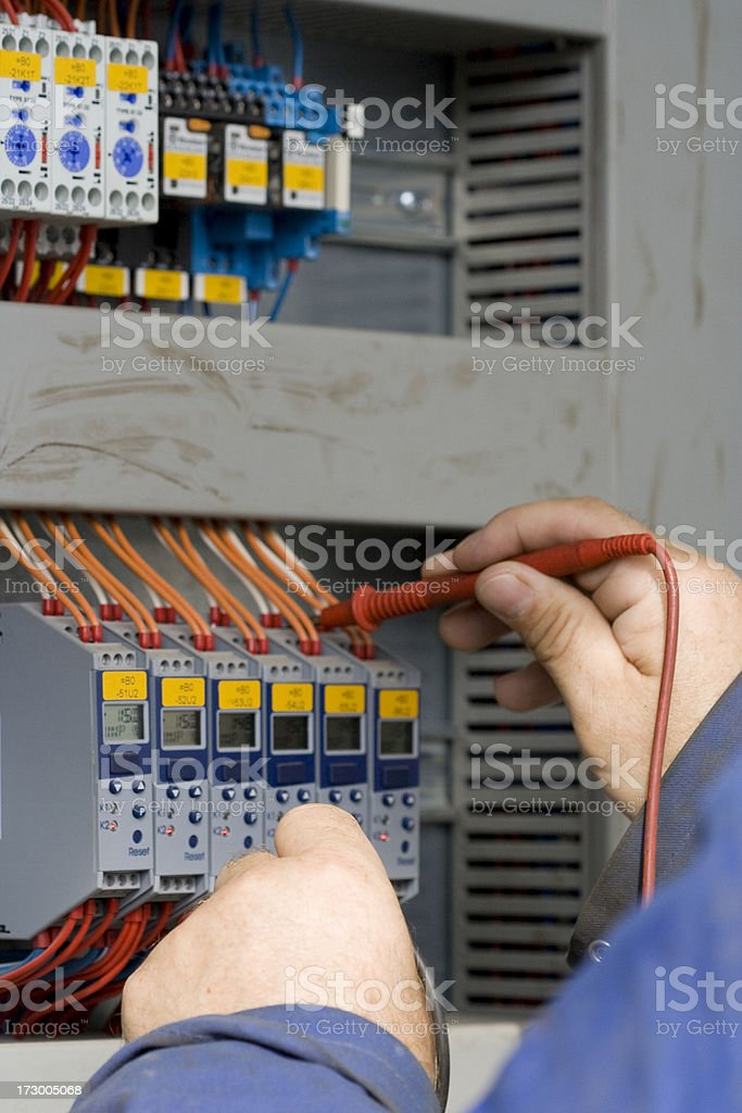 Electrician at work with his instrument of measurement. royalty-free stock photo