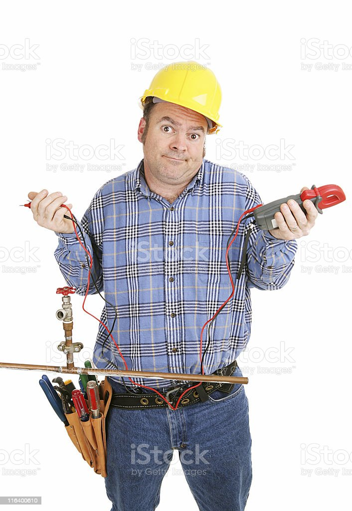 Electrician Confused by Plumbing royalty-free stock photo