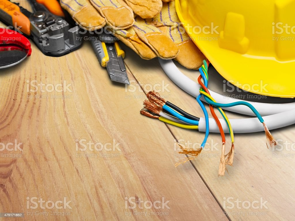 Electrician, Electricity, Work Tool stock photo