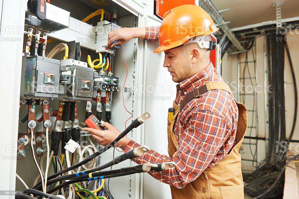 electrician engineer worker stock photo