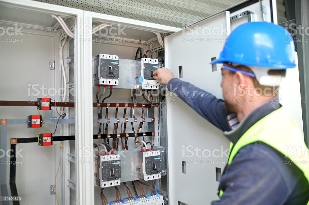 Electrician engineer worker stock photo