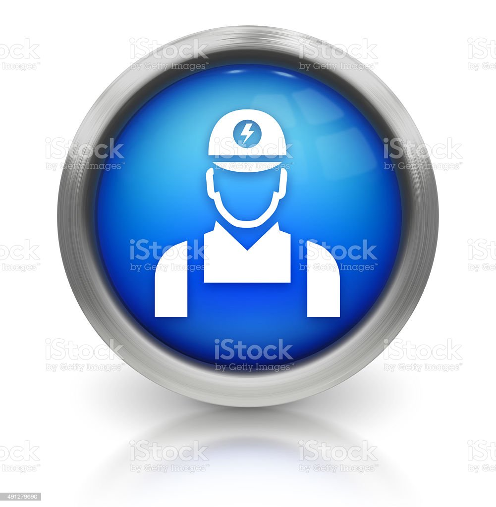 Electrician Icon on Shiny Blue Button stock photo