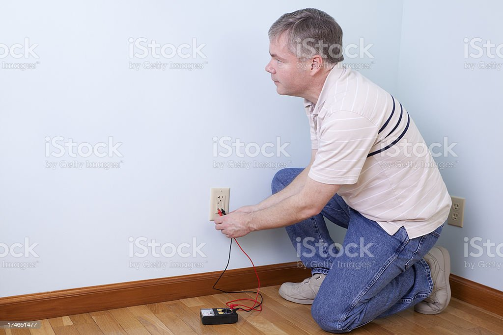 Electrician Looking at Copy Space. royalty-free stock photo