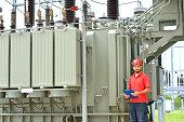 Electrician Near High Voltage Transformer
