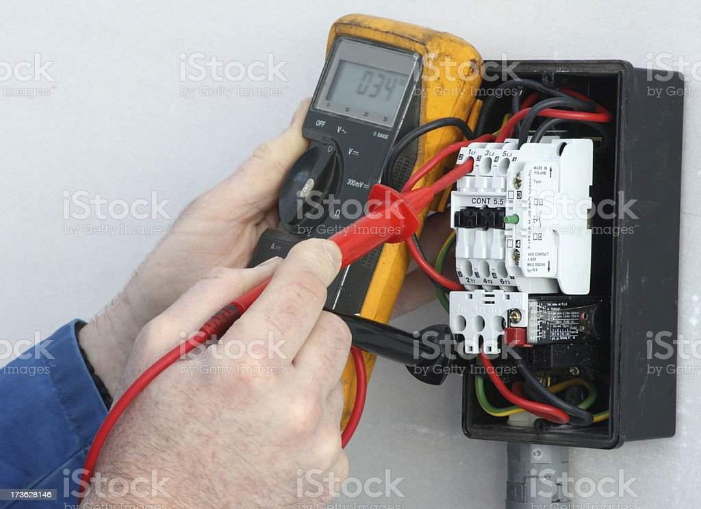 Electrician testing a control circuit. stock photo