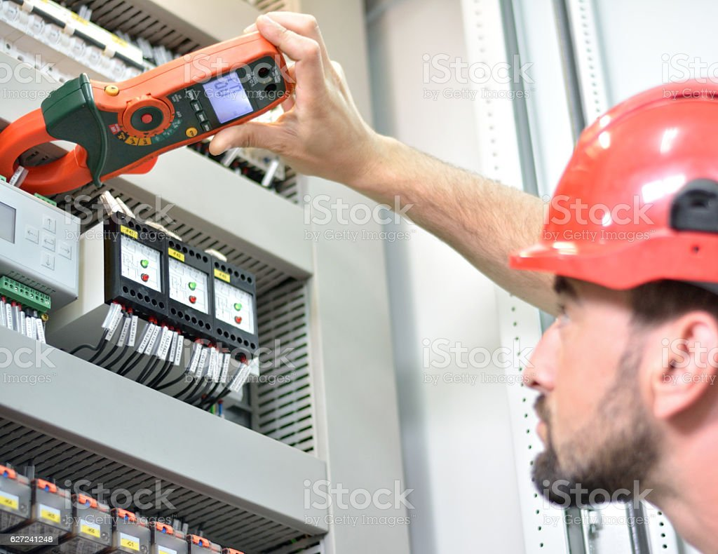 Electrician Testing for Amperage stock photo