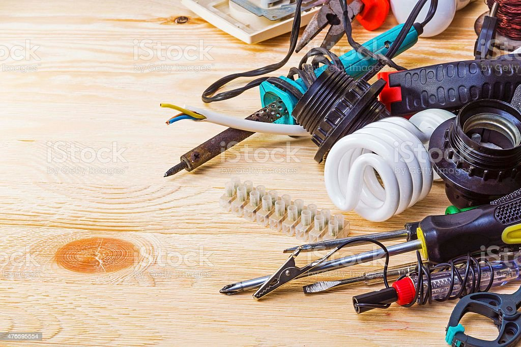Electrician tools on the table stock photo