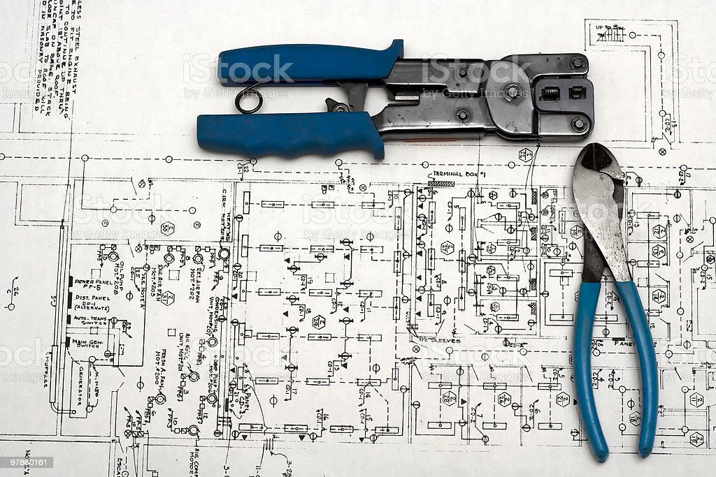 Electrician Tools Schematic royalty-free stock photo