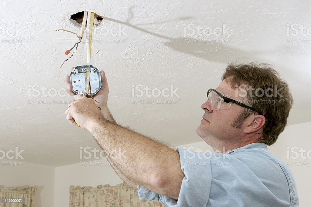 Electrician Wires Ceiling Box stock photo