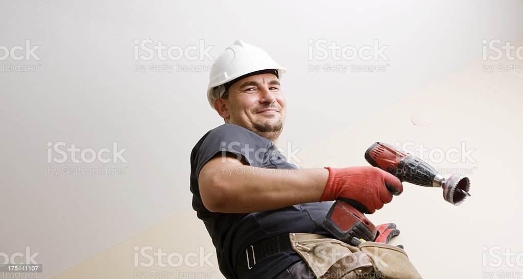 Electrician with drill royalty-free stock photo