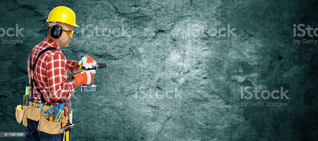 Electrician with drill. stock photo