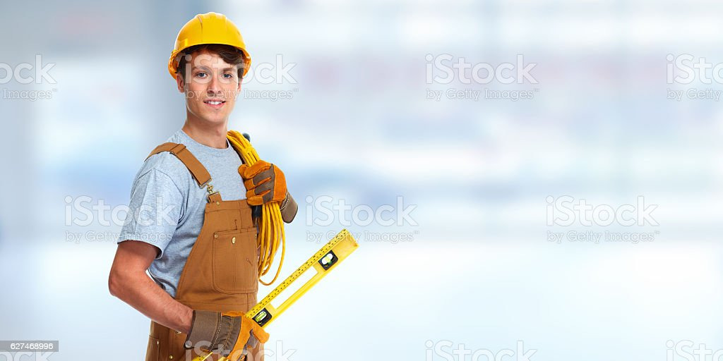 Electrician with electrical cable stock photo