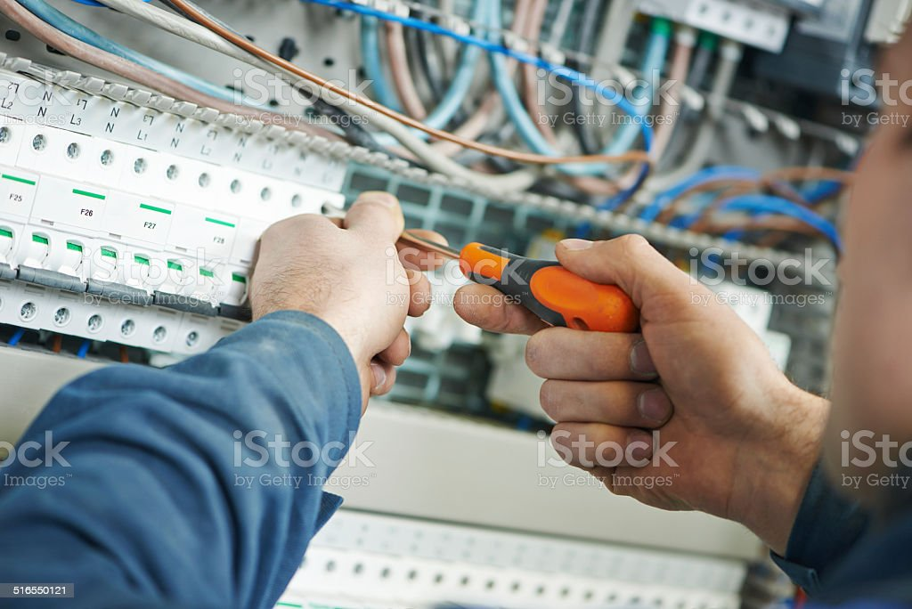 electrician work stock photo