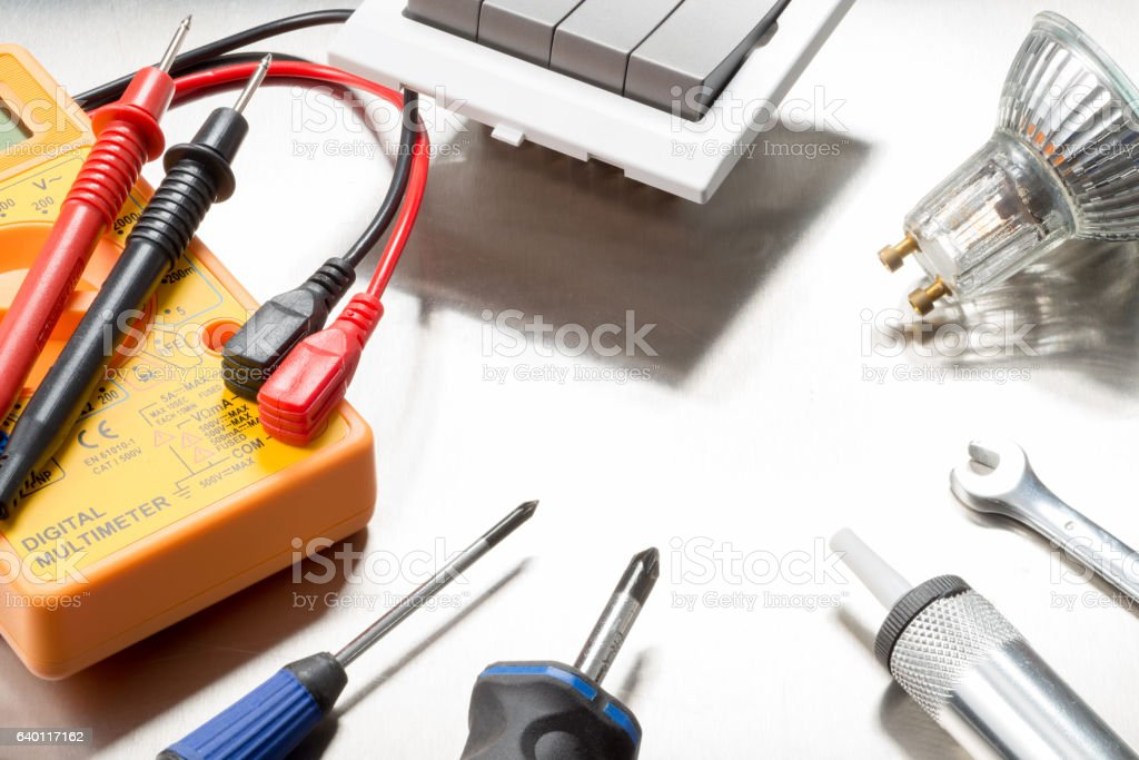 Electricians tool selection stock photo