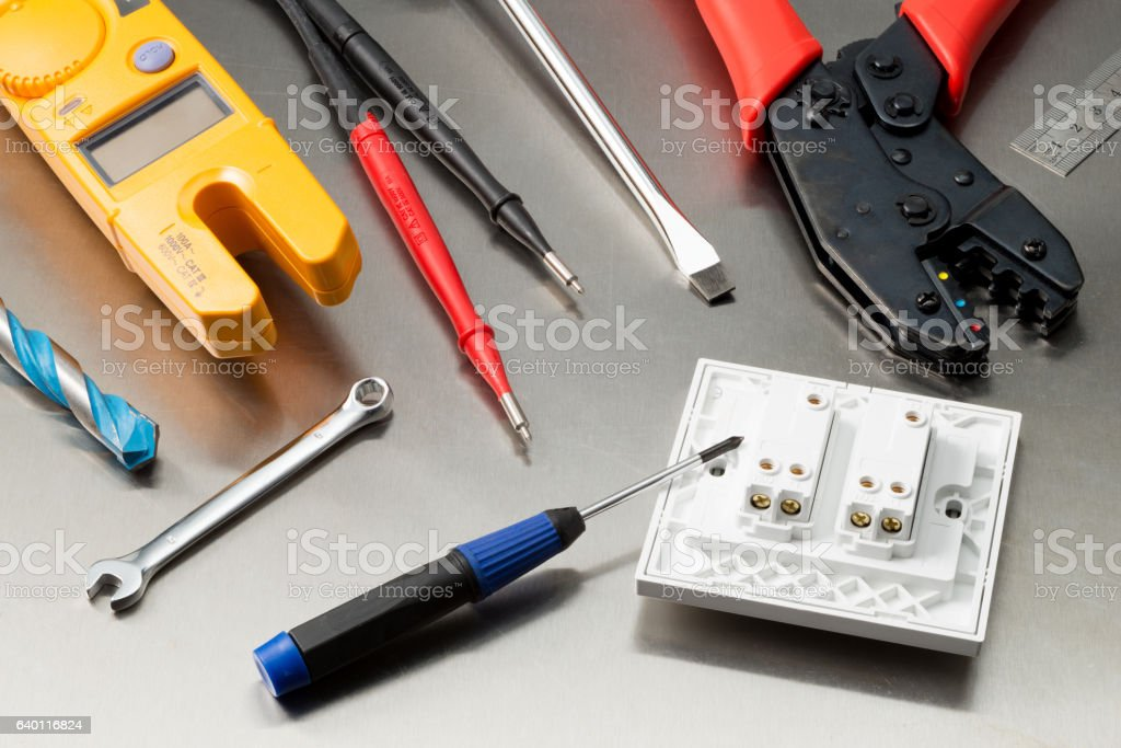 Electricians tools of the trade stock photo