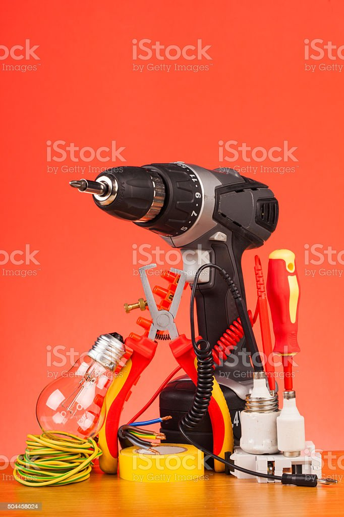 Electrician's tools stock photo
