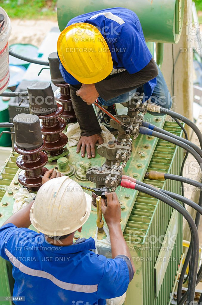 Electricians work stock photo