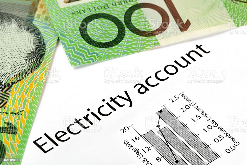 Electricity Account with Australian Money stock photo
