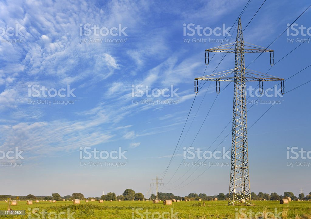 Electricity And Hay Bales royalty-free stock photo
