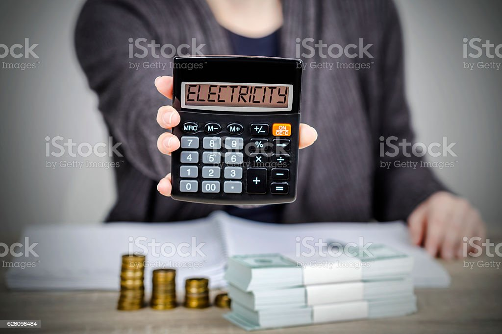 Electricity bill calculation stock photo