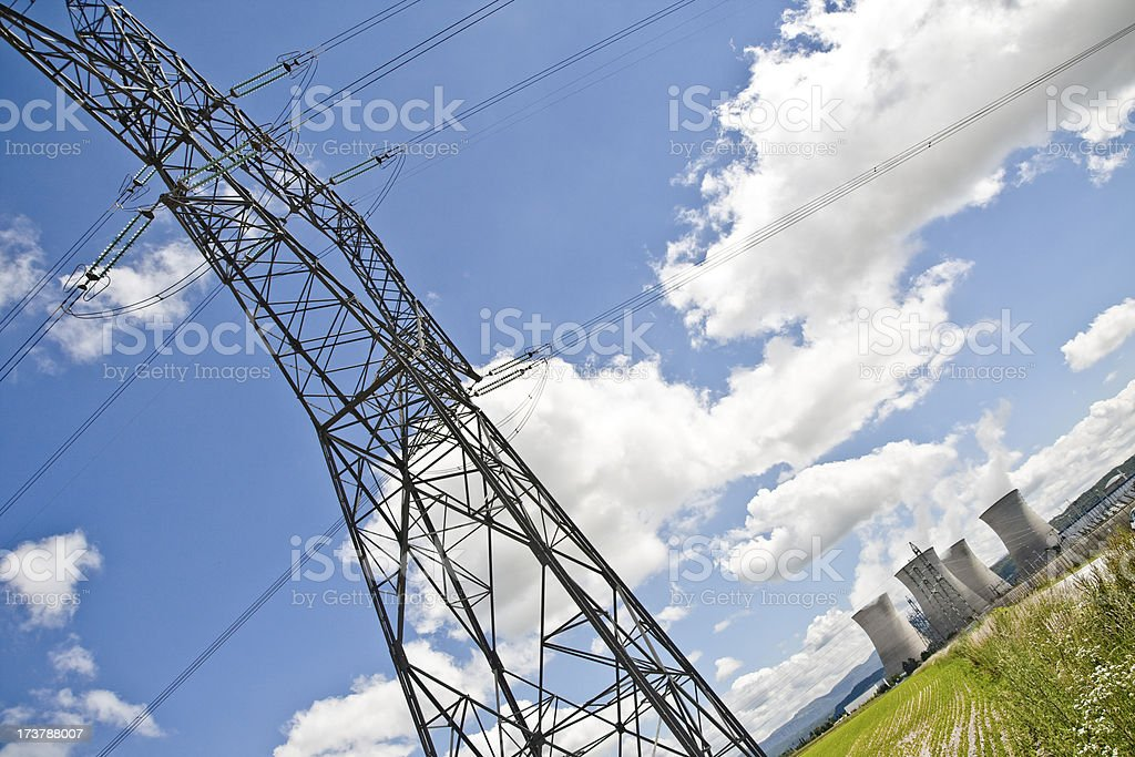 Electricity come from nuclear power station royalty-free stock photo