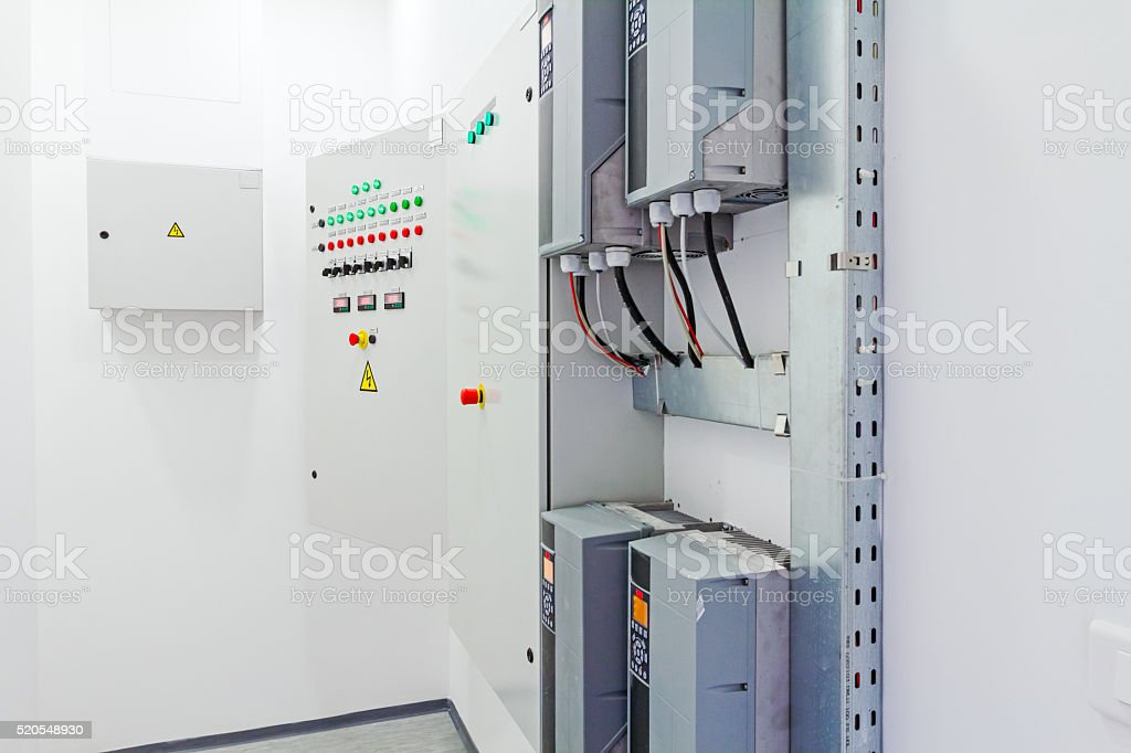 Electricity distribution place. Fuse box. stock photo