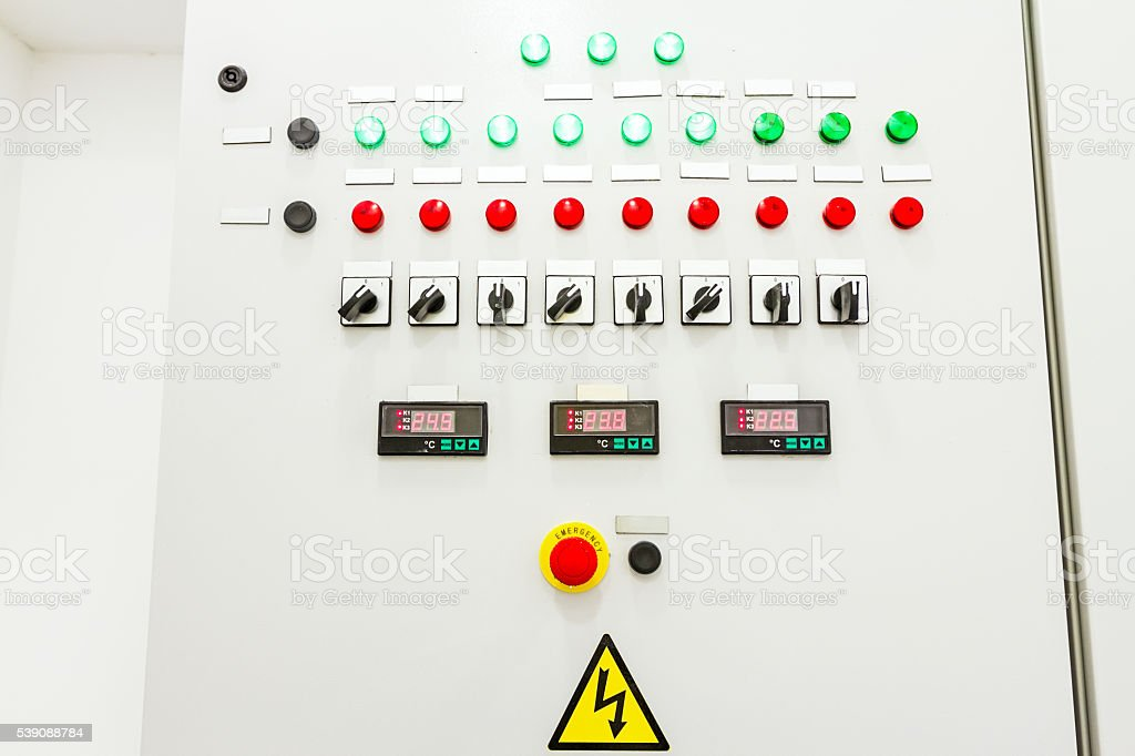 Electricity distribution place with display, fuse box stock photo