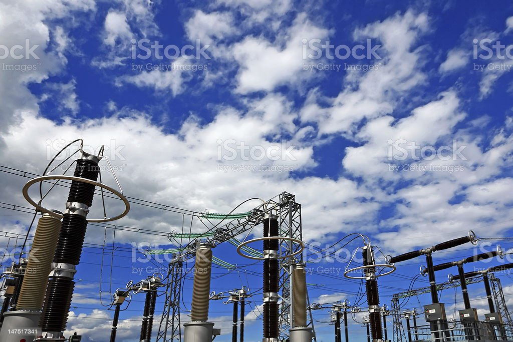 Electricity generation at power plant royalty-free stock photo