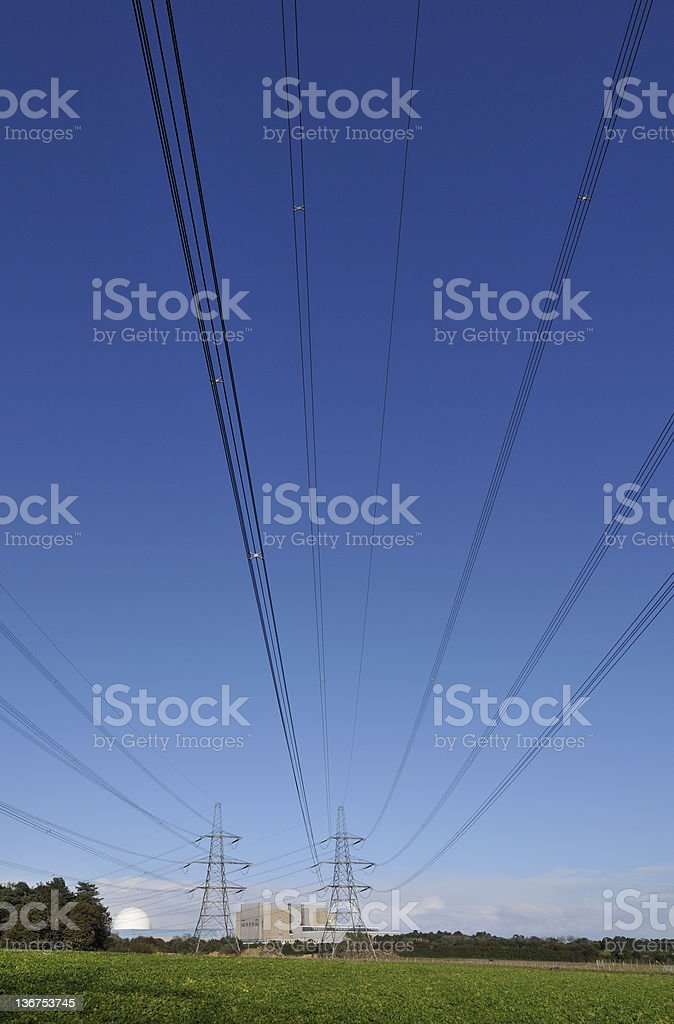Electricity Generation Nuclear Power, Blue stock photo