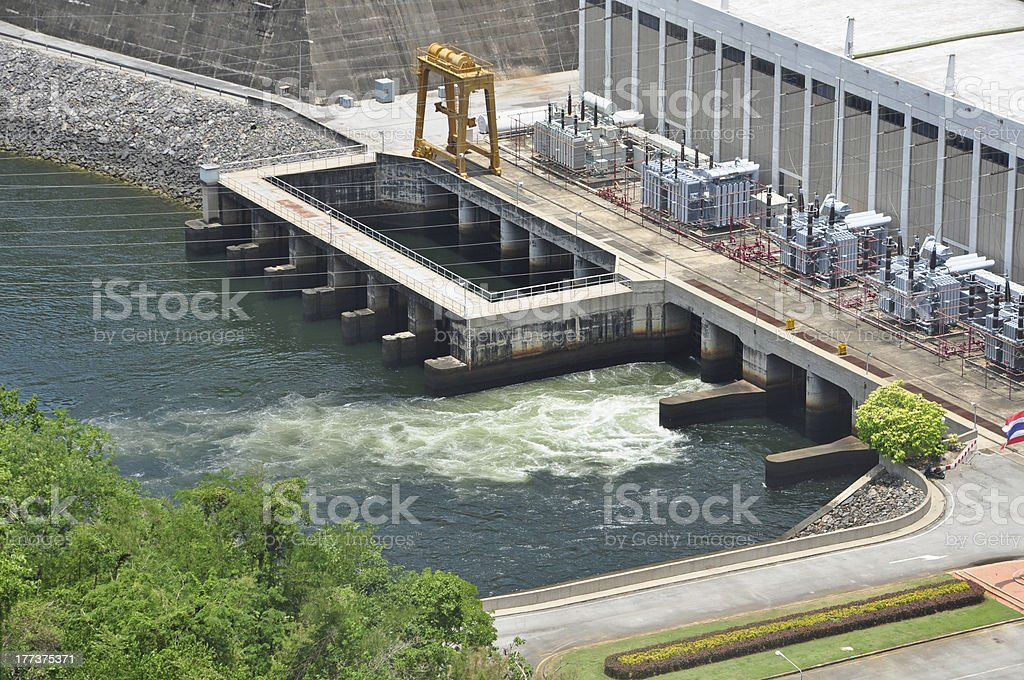 Electricity Generator front of Sri Nakharin Dam Kanchanaburi Thailand stock photo