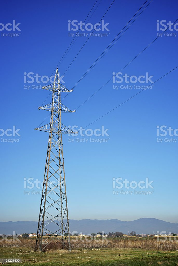 Electricity - High voltage cables stock photo