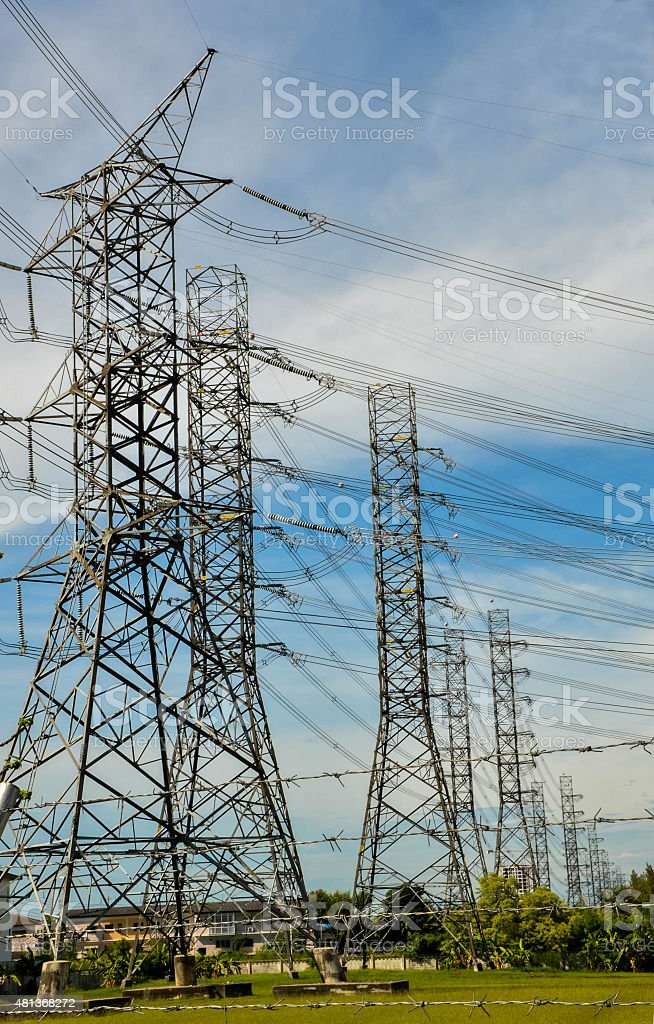 electricity high voltage pole and sky stock photo