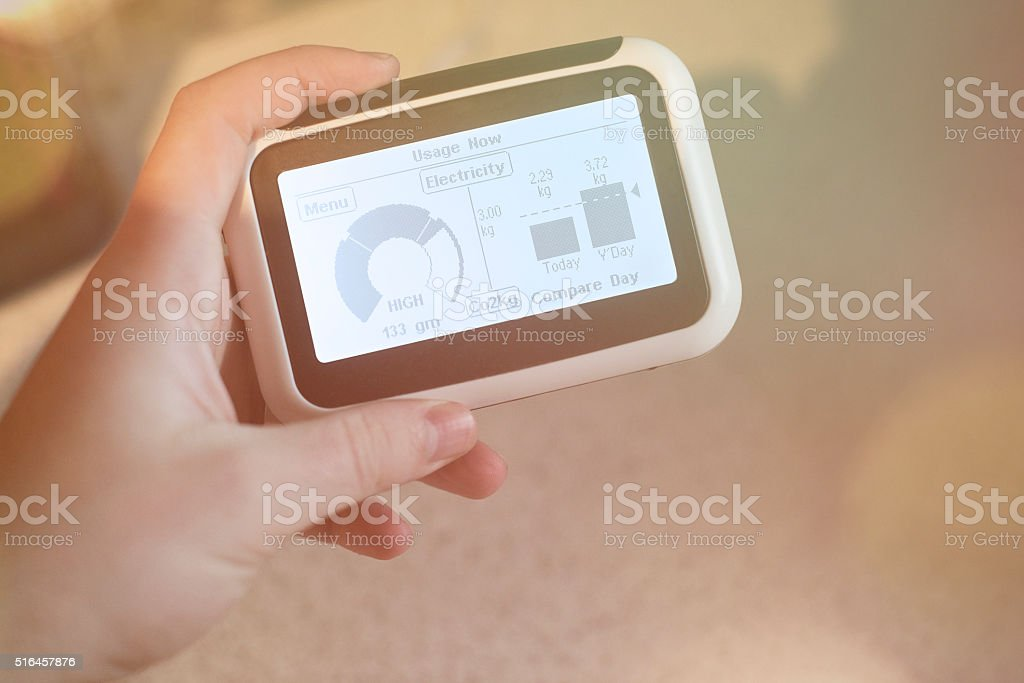 Electricity Home energy smart meter stock photo