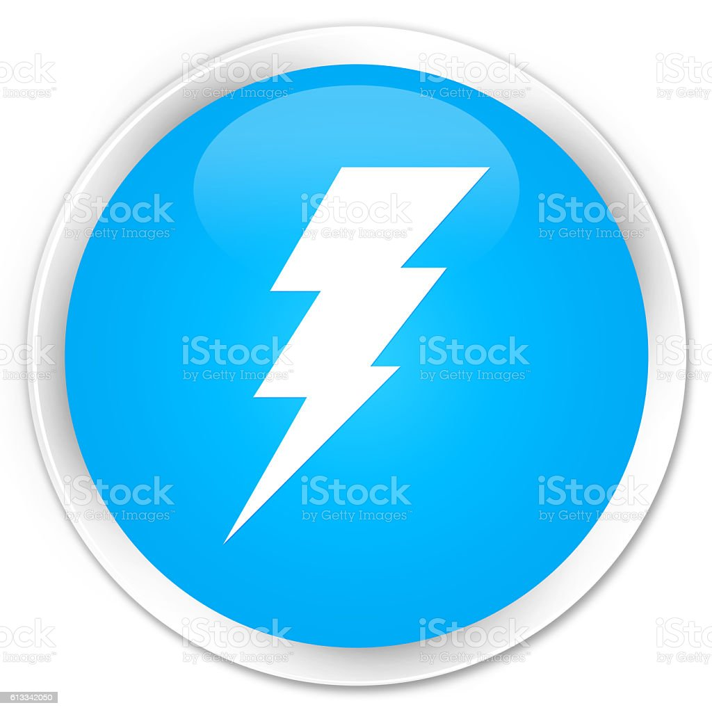Electricity icon cyan blue glossy round button stock photo